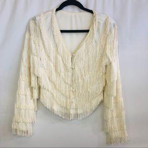 Vintage 1920's style fringe flapper girl jacket